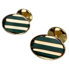 Vintage American Made Oval Gold Filled Cufflinks with Bands of Green Enamel