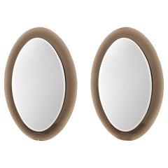 Pair of Oval Italian Glass Mirrors