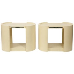 Pair of Oval Karl Springer Embossed Leather Side Tables