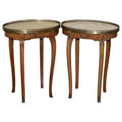 Pair of Oval Oak Single Drawer Marble-Topped Brass Gallery Rail Side End Tables