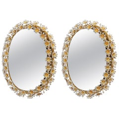 Pair of Oval Palwa Backlight Mirrors with Guilt Brass and Crystal Flowers