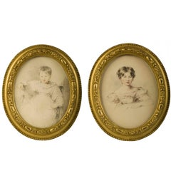 Pair of Oval Portraits of Children, School of Thomas Lawrence