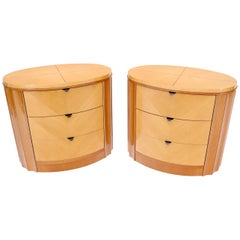 Pair of Oval Shape Scallop Sides Inlaid Top 3-Drawer Nightstands End Tables