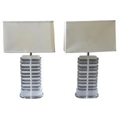 Pair of Oval Shaped Acrylic Lamps
