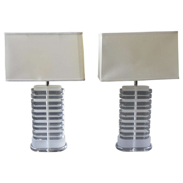 Pair of Oval Shaped Acrylic Lamps For Sale