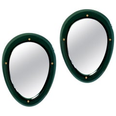 Pair of Oval Shaped Colored Glass Mirrors, Italy, 1950s