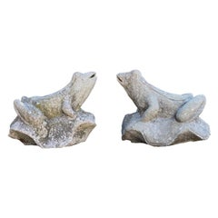 Pair of Over-Scale Carved Stone Frogs from Mercer House, Savannah