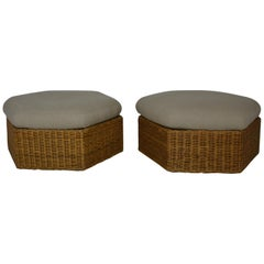 Pair of Over Sized Rattan Ottomans