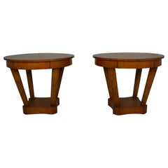 Pair of Over-Sized Round End Tables