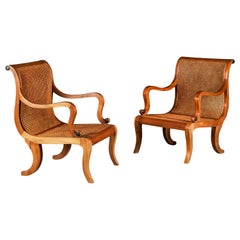 Pair of Overscale Colonial Hardwood Planters Chairs with Caned Seats