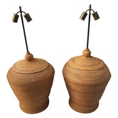 Pair of Oversize Basket Weave Rattan Lamps
