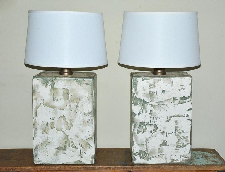 Organic Modern Pair of Oversize Modern Organic Table Lamps For Sale