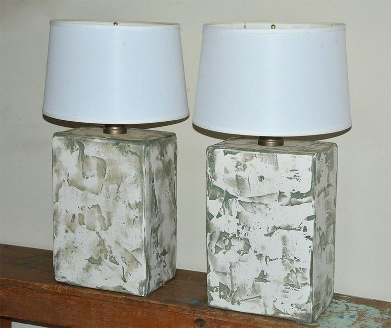 American Pair of Oversize Modern Organic Table Lamps For Sale