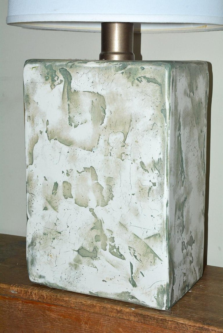 Hand-Painted Pair of Oversize Modern Organic Table Lamps For Sale