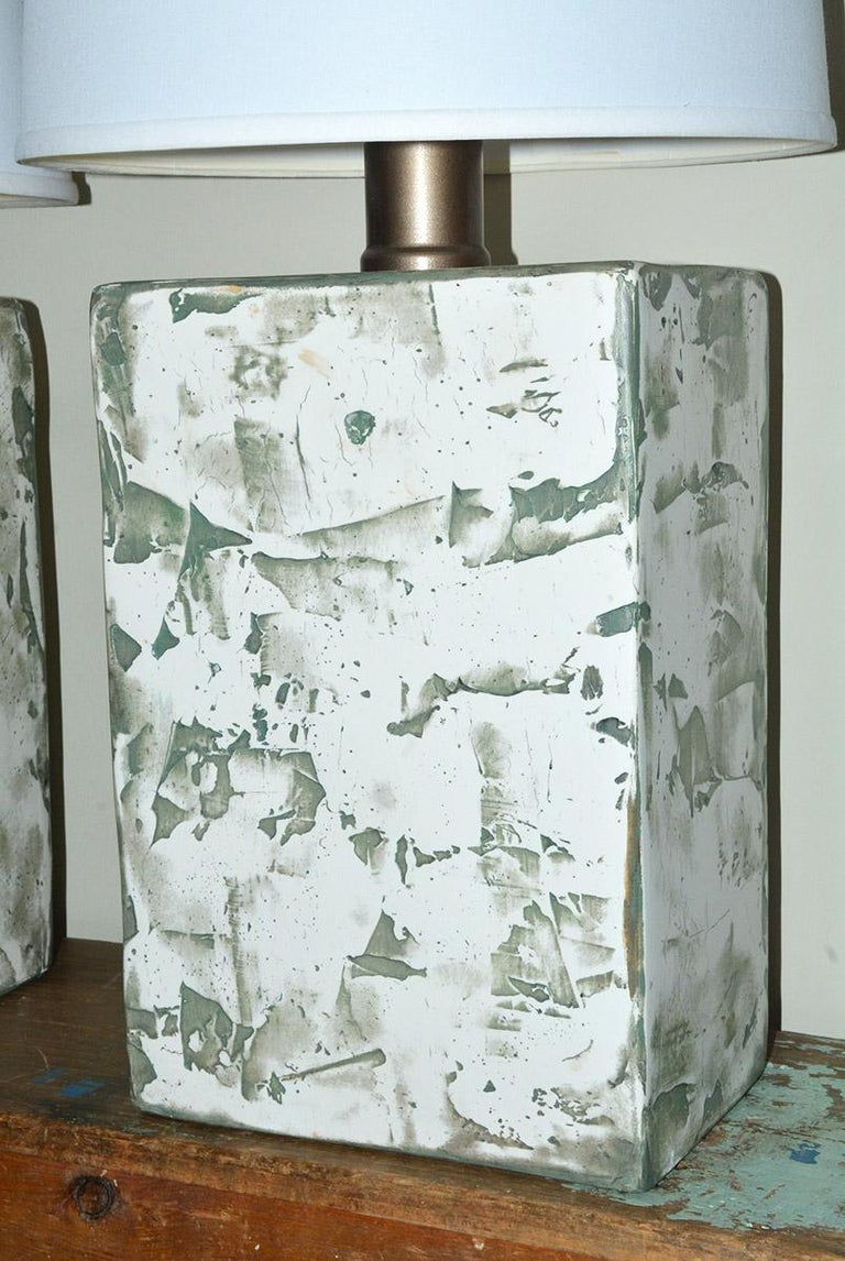 Pair of Oversize Modern Organic Table Lamps In Good Condition For Sale In Great Barrington, MA