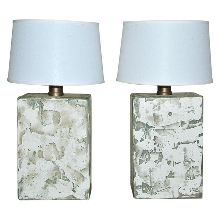Pair of Oversize Modern Organic Table Lamps For Sale