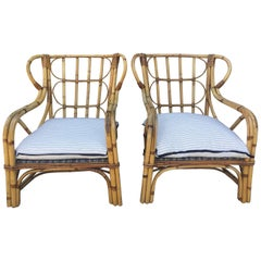 Pair of Oversized 1950s French Bamboo Armchairs