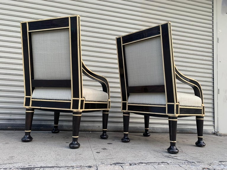 North American Pair of Oversized Armchairs by Hendrix-Allardyce For Sale
