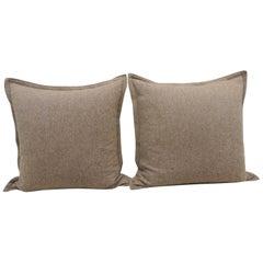 Pair of Oversized Brown and Tan Herringbone Pattern Floor Pillows