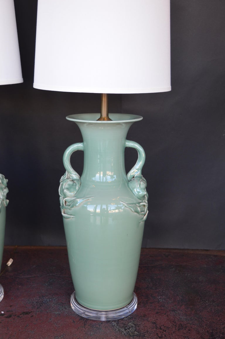 Pair of Oversized Celadon Glazed Table Lamps In Excellent Condition For Sale In Los Angeles, CA