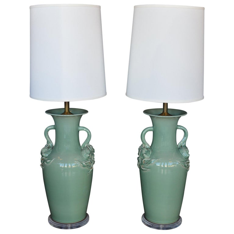 Pair of Oversized Celadon Glazed Table Lamps For Sale