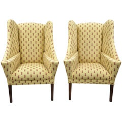 Pair of Oversized Custom Wingback Chairs with Pineapple Printed Yellow Fabric