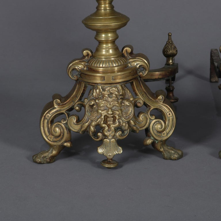 Cast Pair of Oversized French Baroque Brass Fireplace Chenet Andirons with Masks For Sale