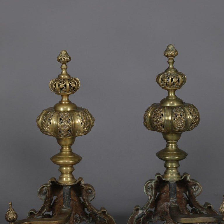 Pair of Oversized French Baroque Brass Fireplace Chenet Andirons with Masks In Good Condition For Sale In Big Flats, NY