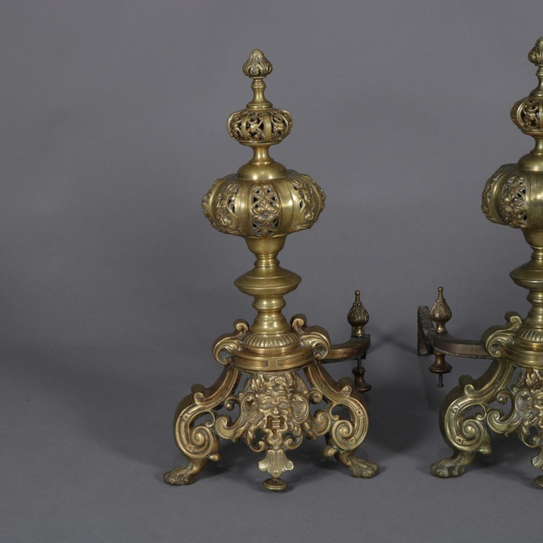 19th Century Pair of Oversized French Baroque Brass Fireplace Chenet Andirons with Masks For Sale