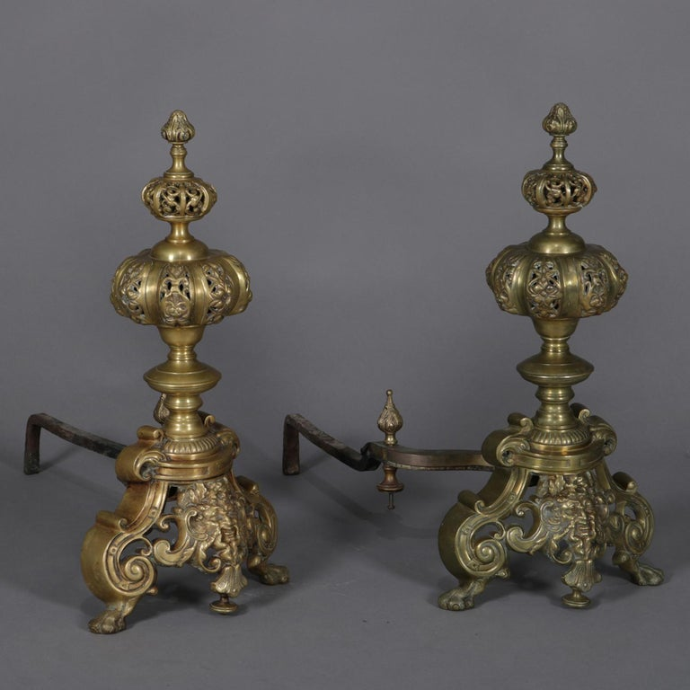 Pair of Oversized French Baroque Brass Fireplace Chenet Andirons with Masks For Sale 2