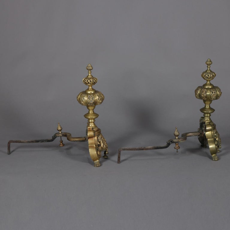 Pair of Oversized French Baroque Brass Fireplace Chenet Andirons with Masks For Sale 3