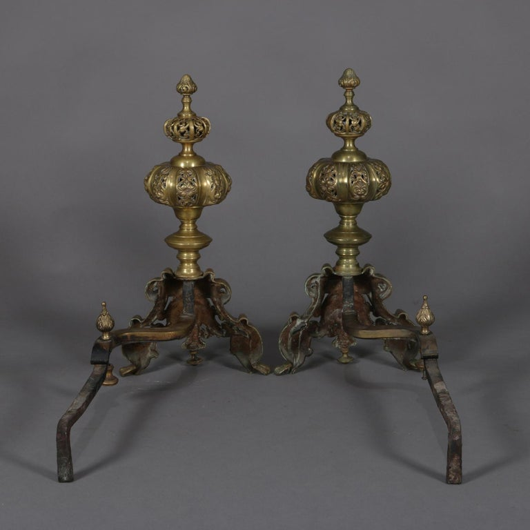 Pair of Oversized French Baroque Brass Fireplace Chenet Andirons with Masks For Sale 4