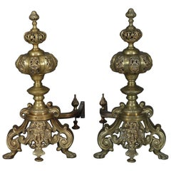 Pair of Oversized French Baroque Brass Fireplace Chenet Andirons with Masks