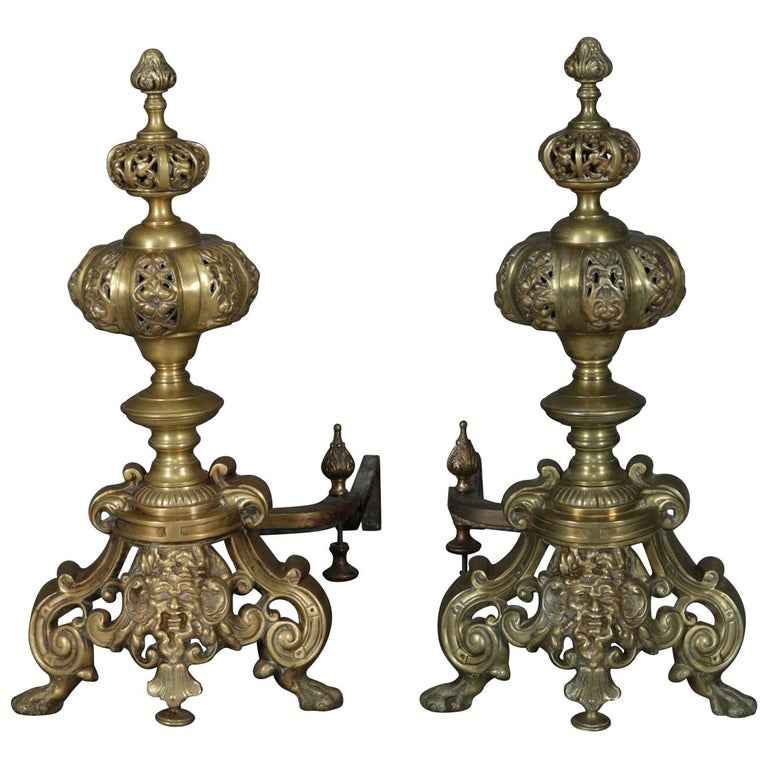 Pair of Oversized French Baroque Brass Fireplace Chenet Andirons with Masks For Sale