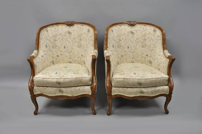 Pair of Oversized French Country Louis XV Style Bergère ...