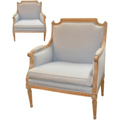 Pair of Oversized French Louis XVI Bergeres, circa 1900