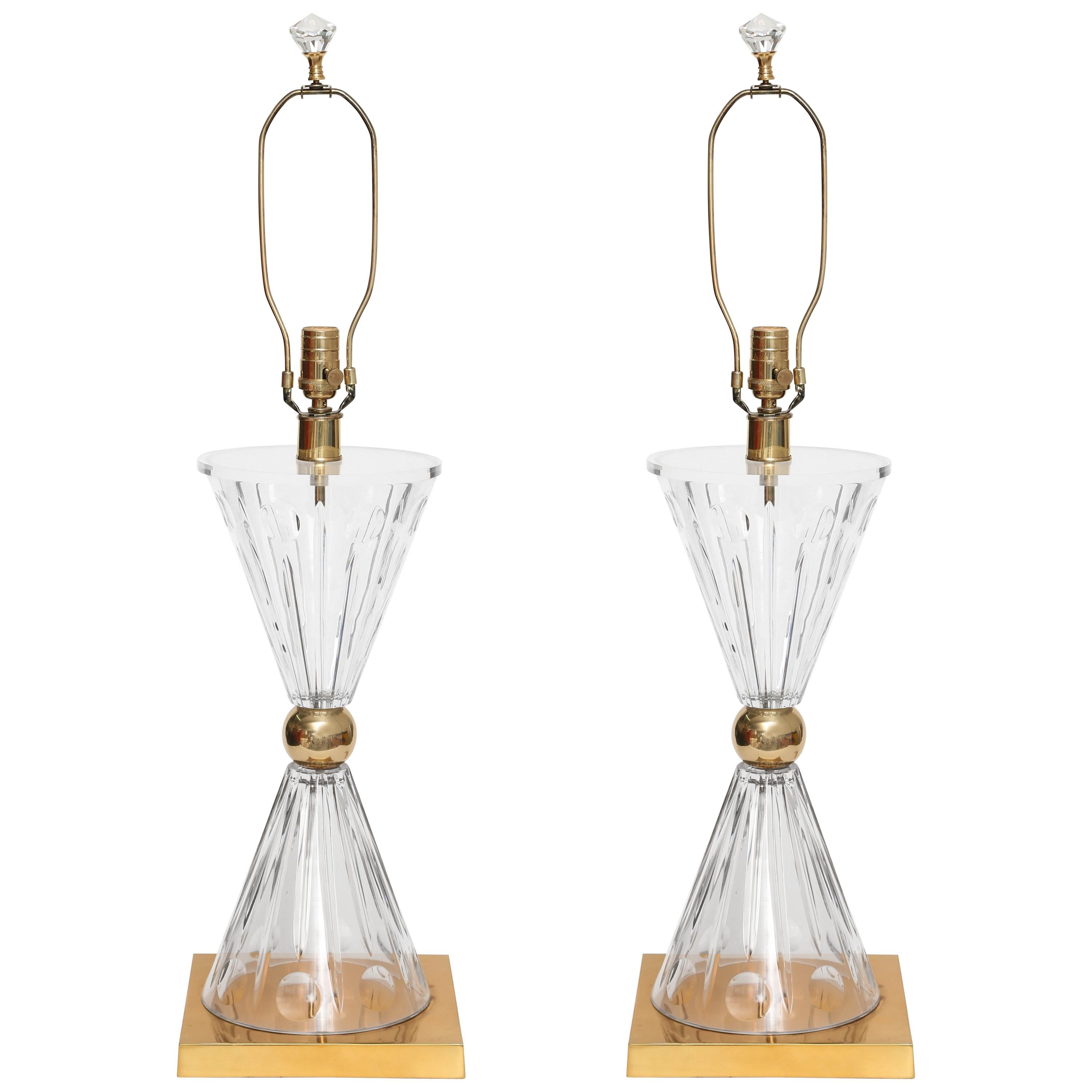 Pair of Oversized Lucite, Glass and Brass Custom Lamps, 1970s, USA