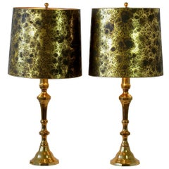 Pair of Large Oversized Vintage Midcentury Cast Brass Table Lamps