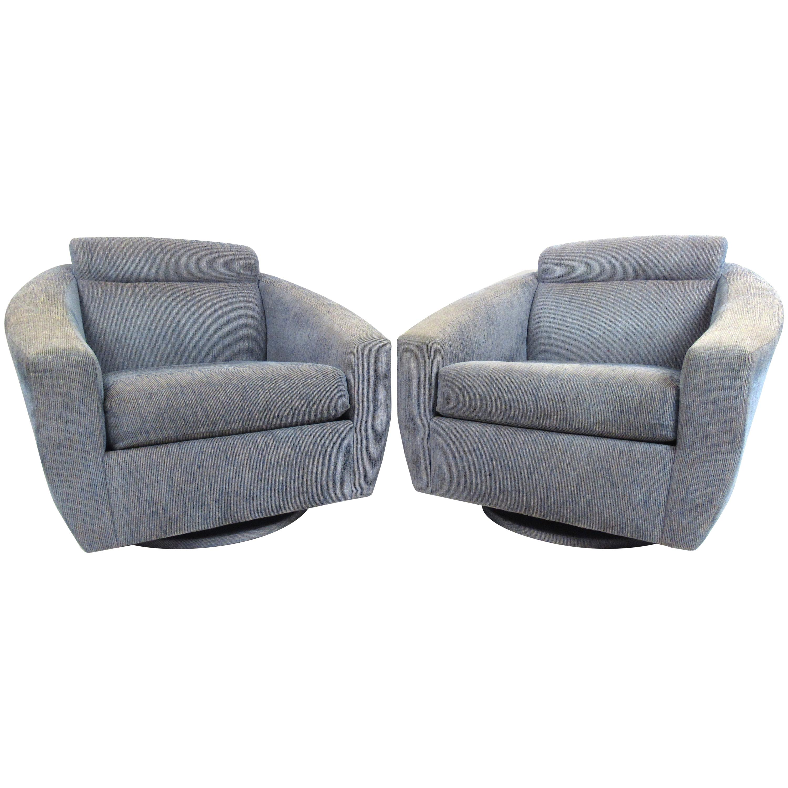 Pair of Oversized Modern Swivel Lounge Chairs