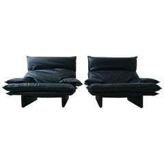 Pair of Oversized Postmodern Italian Lounge Chairs