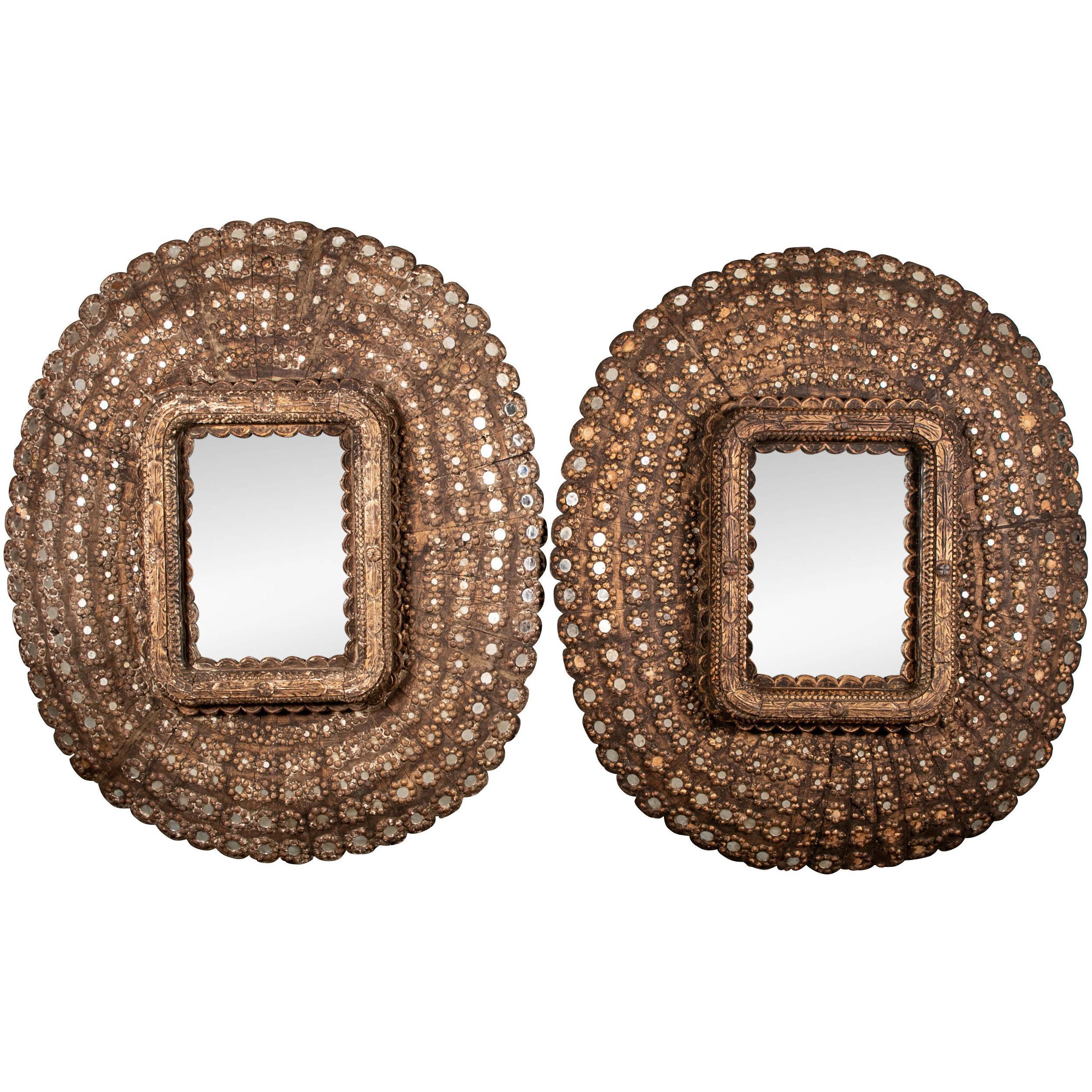 Pair of Oversized Segmented Wall Mirrors