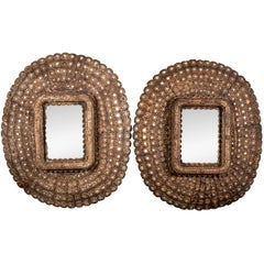 Pair of Oversized Segmented Wall Mirrors