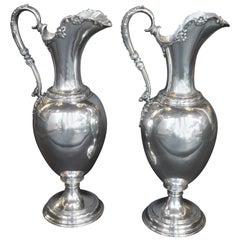 Pair of Oversized Sterling Silver Tiffany & Co. Pitchers