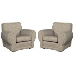 Pair of Oversized Upholstered Club Chairs