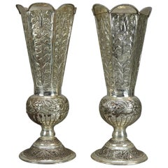 Pair of Oversized Vintage Silver Plate Floral Embossed Footed Vases 20th Century