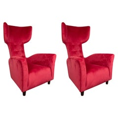 Pair of Oversized Wing Back Armchairs