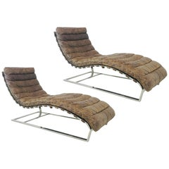 Pair of Oviedo Distressed Leather Chaise Lounges