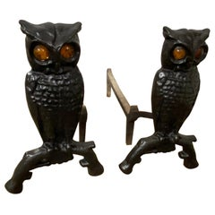 Pair of Owl Andirons