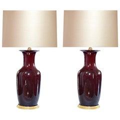 Pair of Oxblood Glazed Porcelain Lamps