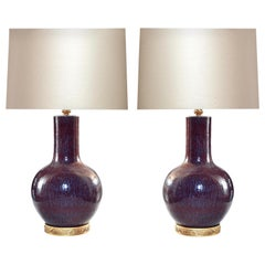 Pair of Oxblood Porcelain Lamps
